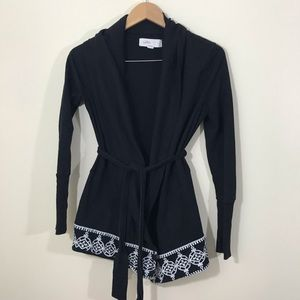Anthro Lilka Black Embroidered Belted Cardigan S